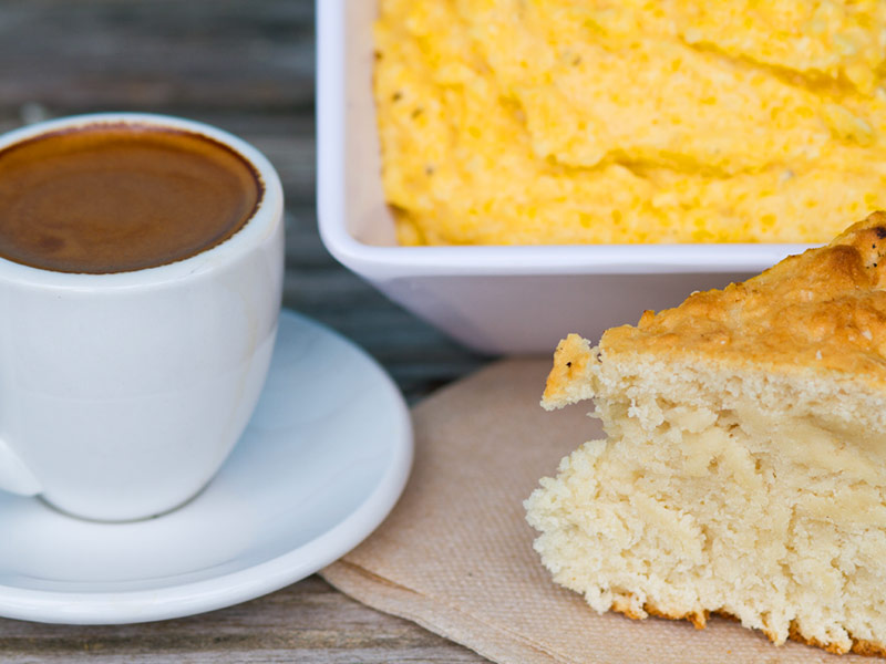 cuban coffee with cheese grits and harveys johnny cake