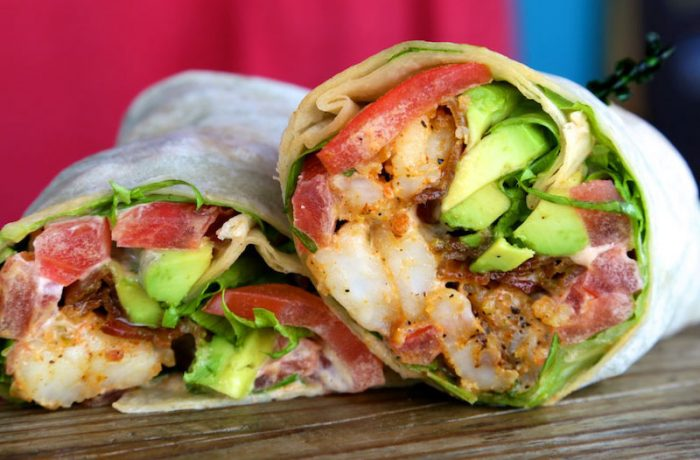 Blackened Key West Pink Shrimp Club Wrap – $12.95